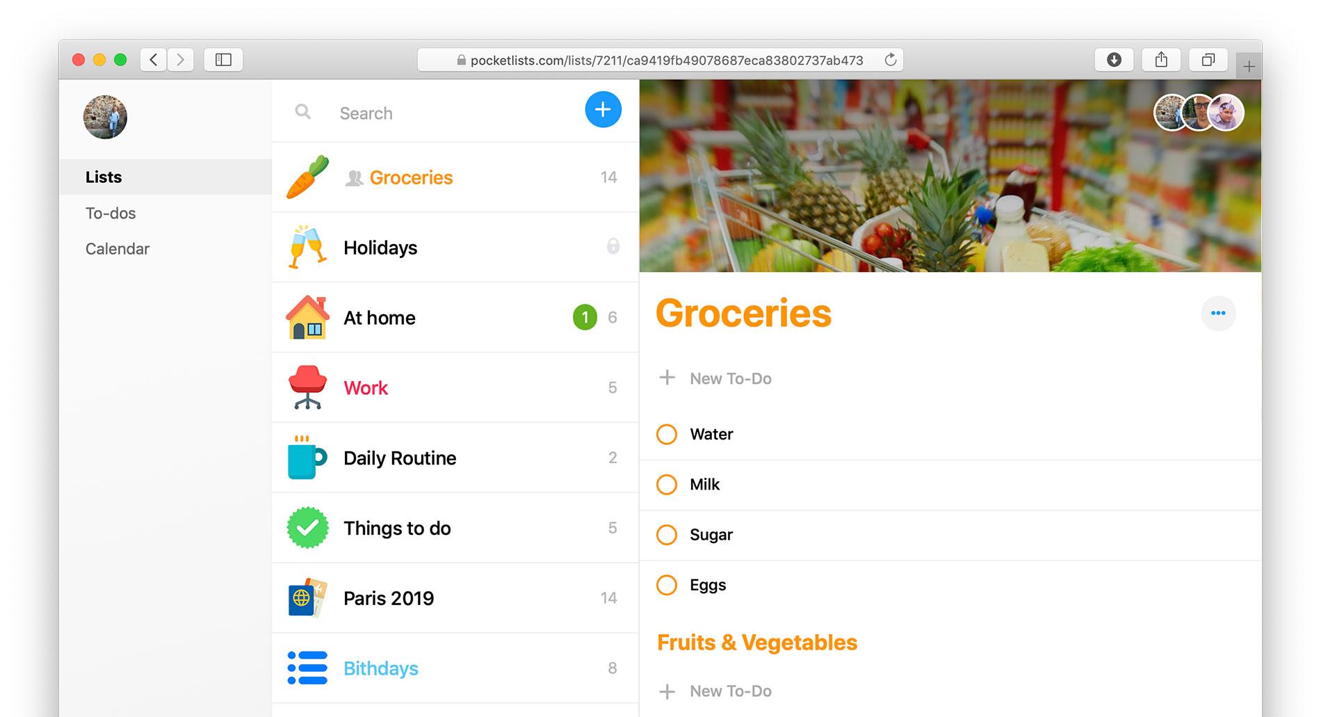 Pocket Lists Web App